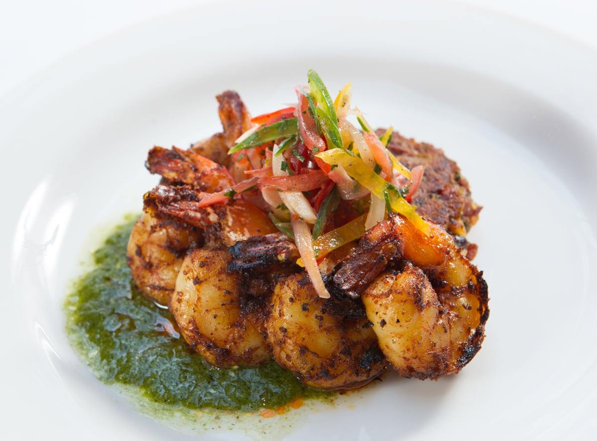 blackened-shrimp-red-bean-chorizo-cake-tomatillo-vinaigrette_12935380365_o.jpg